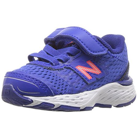 new balance boys' 680v5 hook and loop running shoe, pacific/dynomite (New Balance Shoes Boys Size 5)