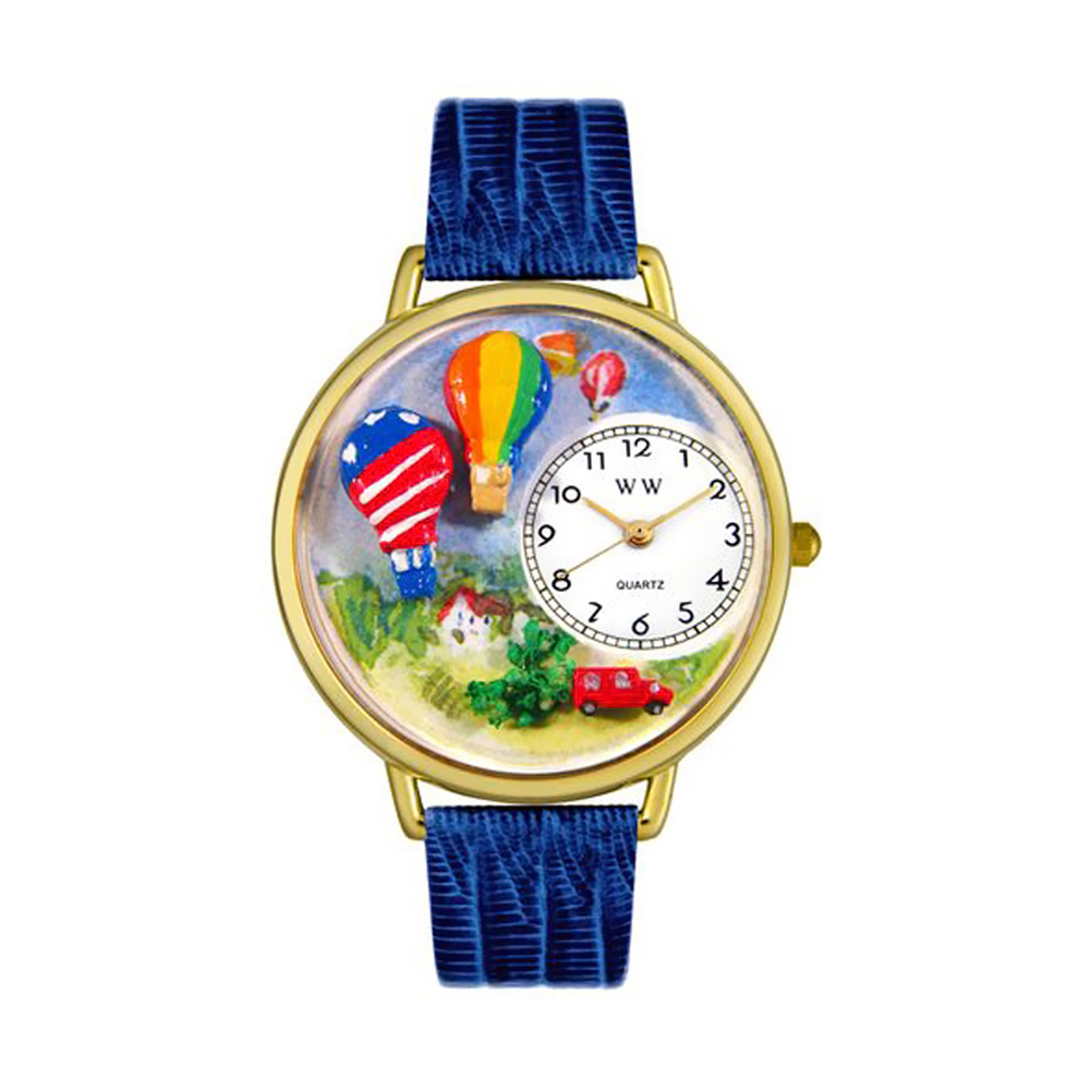 Whimsical Hot Air Balloons Royal Blue Leather And Goldtone Watch
