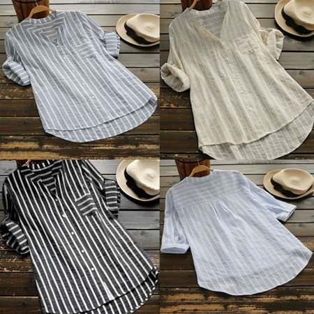 Stripe Cuff Shirt - Summer Casual Women Striped V Neck T-Shirts Short Sleeve Cuffs Loose Tops Button Singler Breasted Ladies T-Shirts Plus