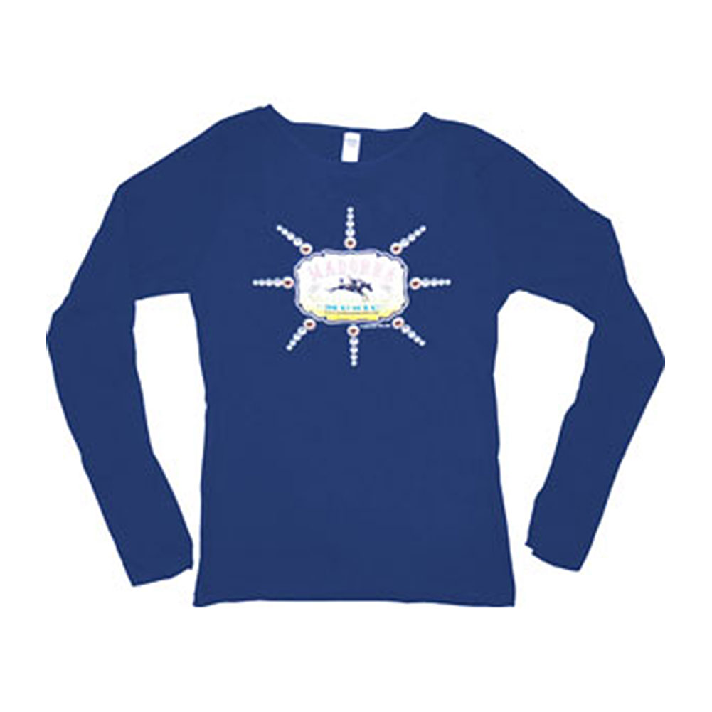 Madonna  Music Logo Girls Jr  Long Sleeve Blue