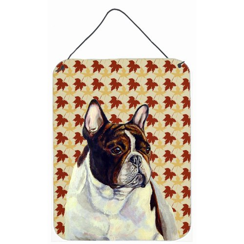 Caroline's Treasures French Bulldog Fall Leaves Portrait by Lyn Cook Graphic Art Plaque