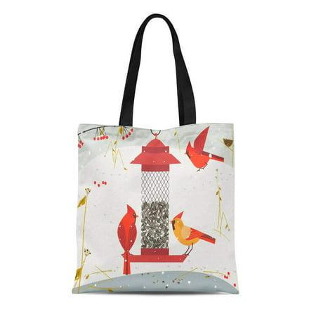 LADDKE Canvas Bag Resuable Tote Grocery Shopping Bags Cute Red Northern Cardinal Bird Comic Flat Cartoon Minimalism Simplicity Winter Tote Bag (Wood Northern Flat Car)