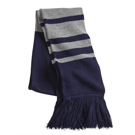 Rugby Striped Knit Fringe Scarf - Cashmere Feel 100% acrylic - (Navy/ Heather Grey)