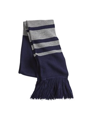 dd42ac518 Product Image Rugby Striped Knit Fringe Scarf - Cashmere Feel 100% acrylic  - (Navy/ Heather