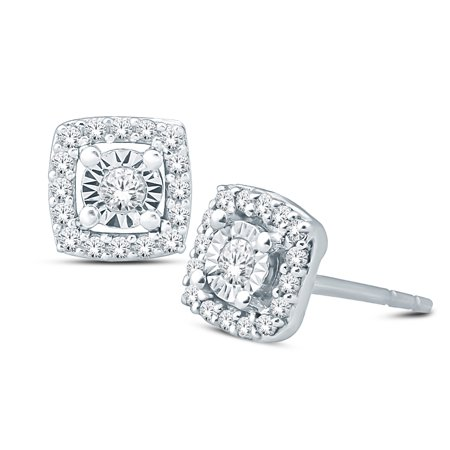 1/10 ct tw round diamond cluster square shape stud earring with miracle plate in sterling (1.05 Ct Tw Round Diamonds)