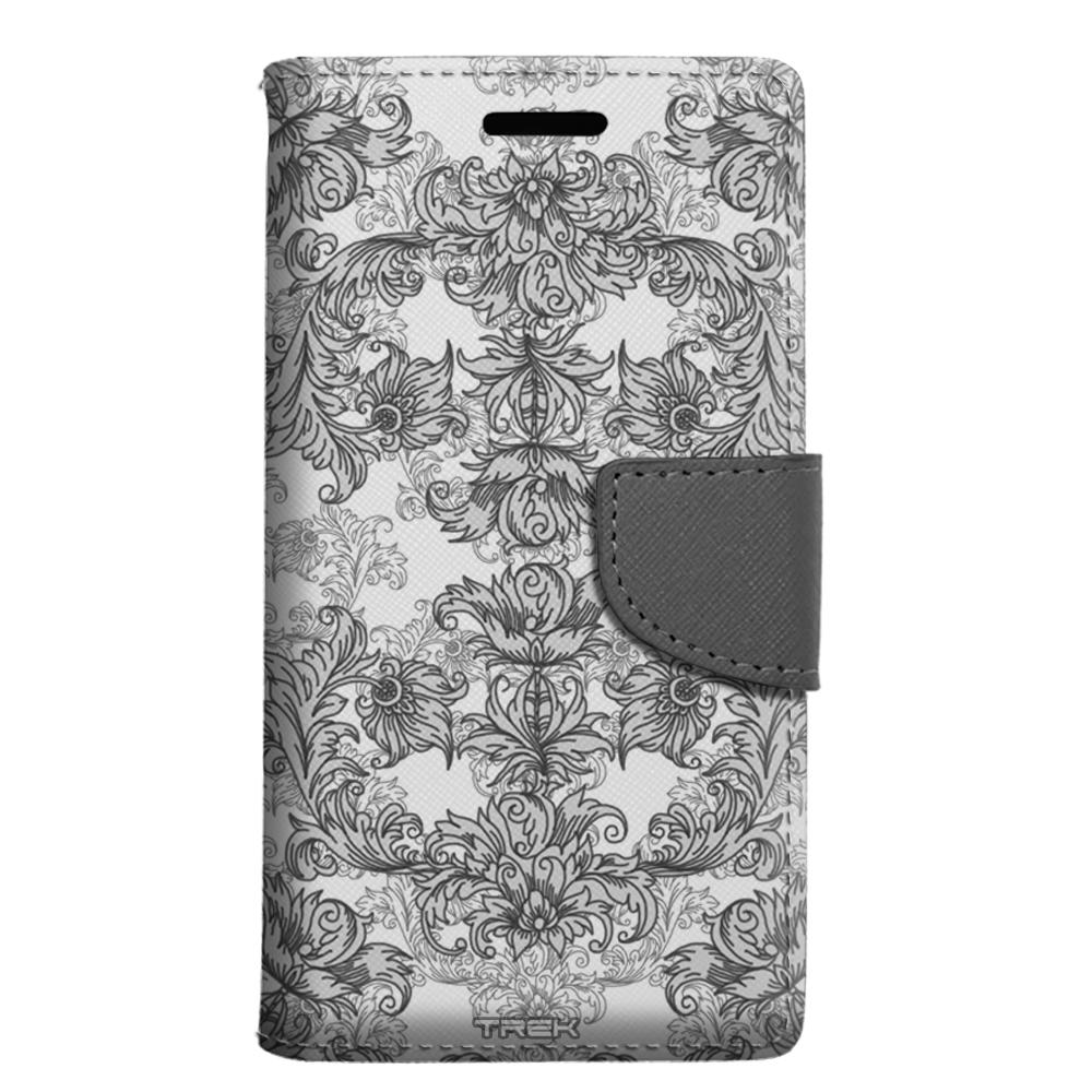 LG Escape 3 Wallet Case - Elegant Grey Floral Lace on White Case