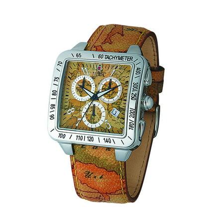 Prima Classe Mens Pch 728 Vu Chronograph Geo Design Leather Date Watch