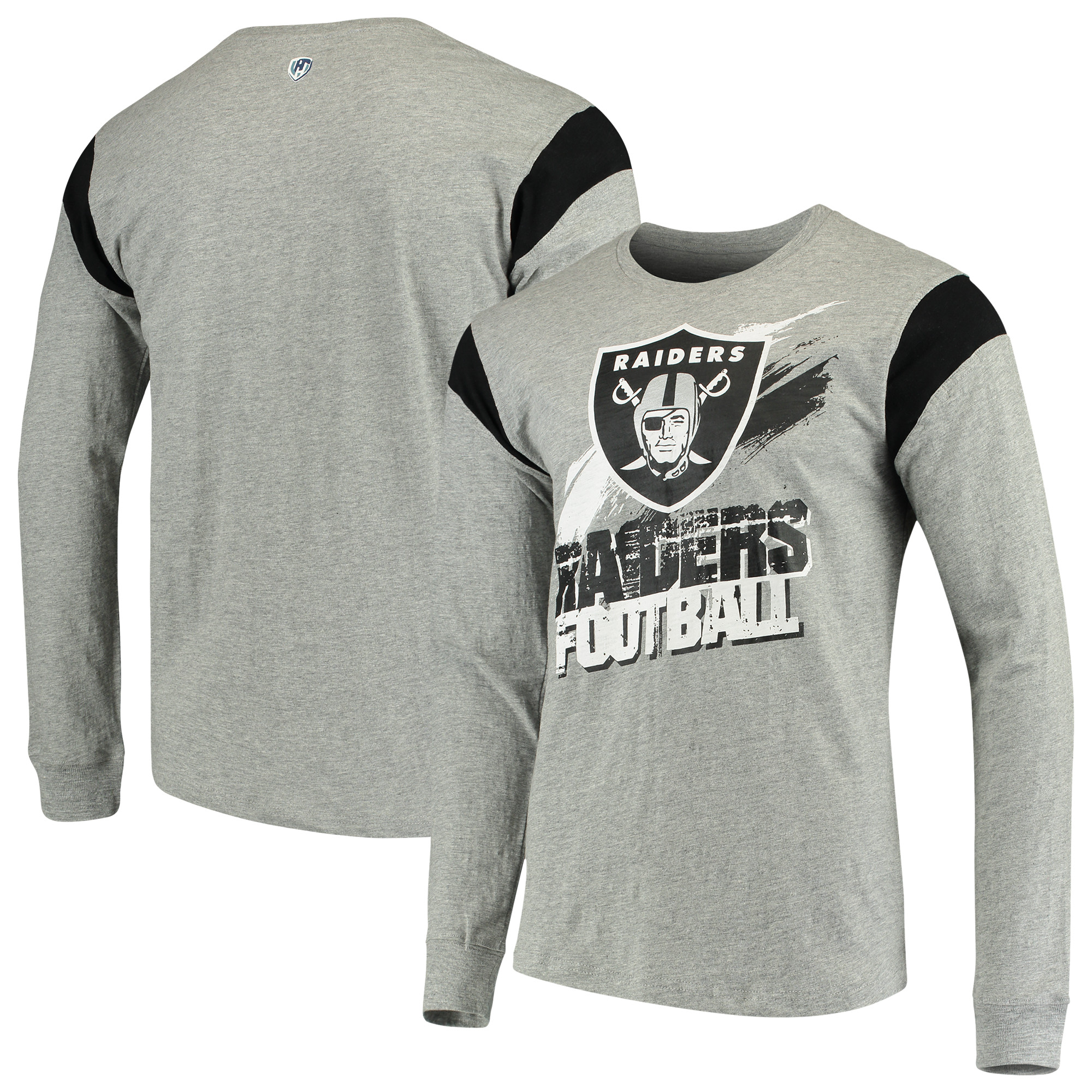 Oakland Raiders G-III Sports by Carl Banks Wide Receiver Long Sleeve T-Shirt - Heathered Gray/Black