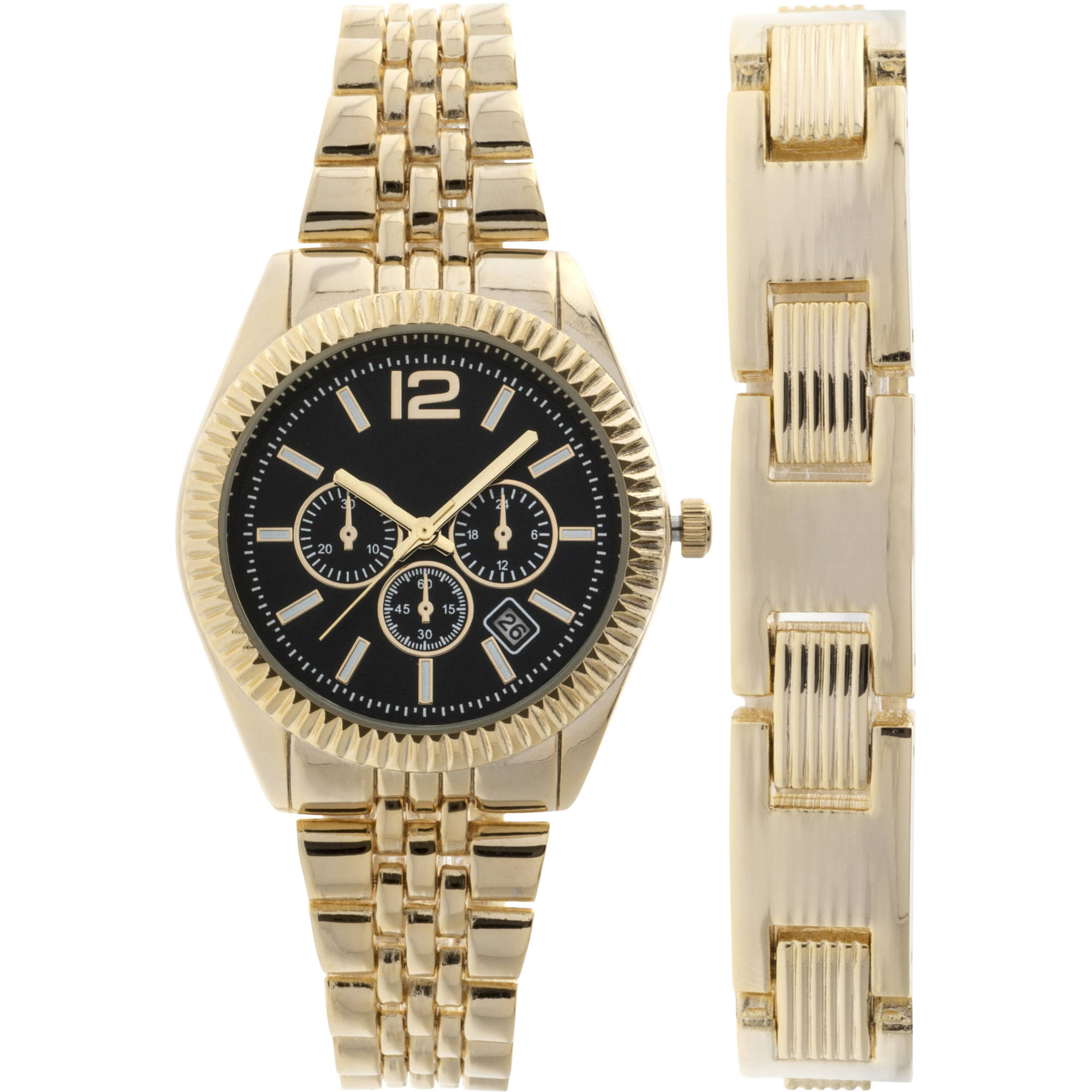 Men's Gold-Tone Round Watch Bracelet Set, Black Dial, Date Window on Dial