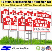 10 Pack Estate Sale Signs Kit with stakes, and arrow stickers