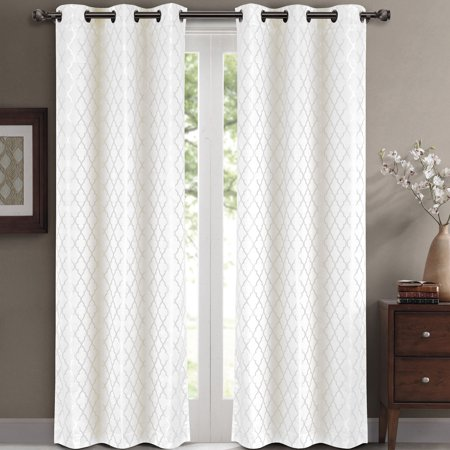 Pair ( Set of 2) Willow Thermal-Insulated Blackout Curtain Panels - White - W84 x L63