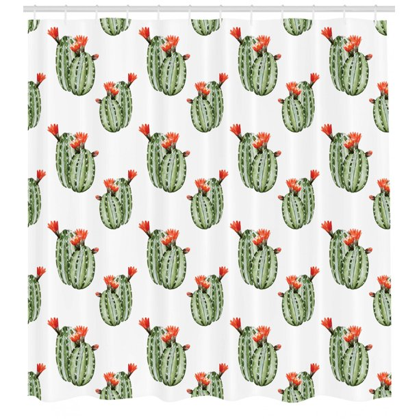 Cactus Shower Curtain, Cactus With Spikes And Red Flowers