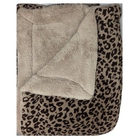 WPM Queen Animal print Blanket Sumptuously Soft Plush Faux Fur sherpa Black leopard jungle print