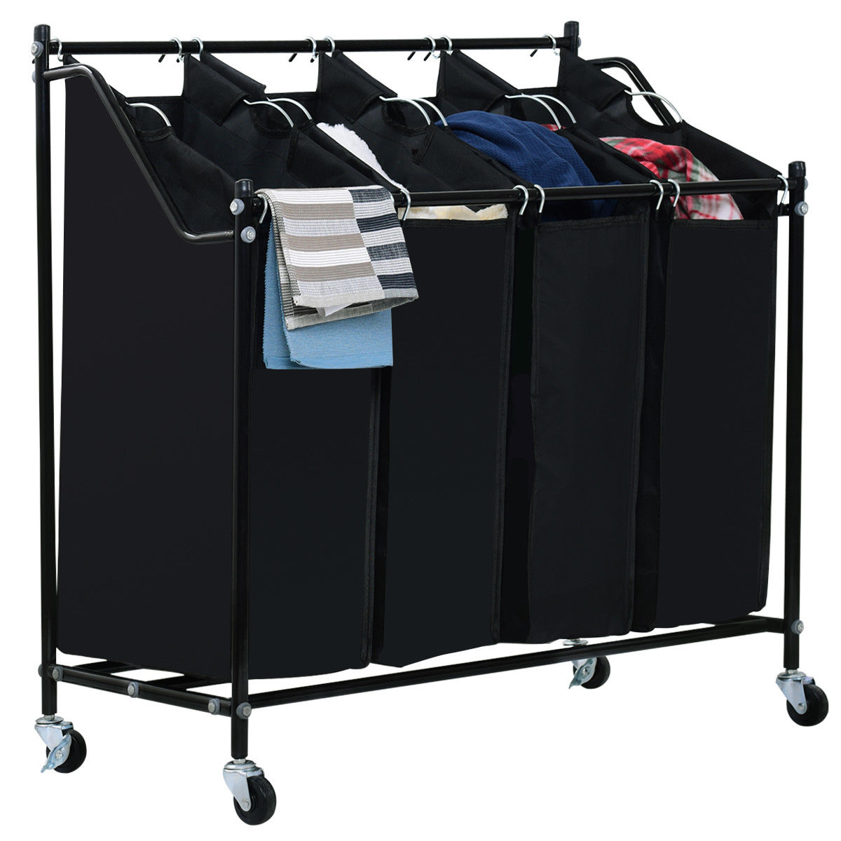 Costway 4 Bag Rolling Laundry Sorter Cart Hamper Organizer Compact Basket Heavy Duty