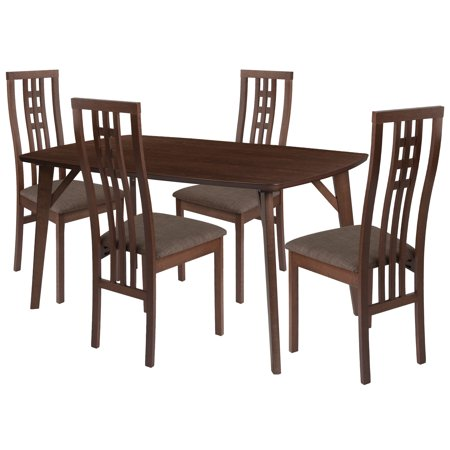 Walnut Wood Dining Table Set High Triple Window Pane Back Padded Seats