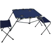 Ozark Trail 2-In-1 Steel Camping Chair&Table Set with Two Seats, Rectangular Table Top with Two Cup Holders