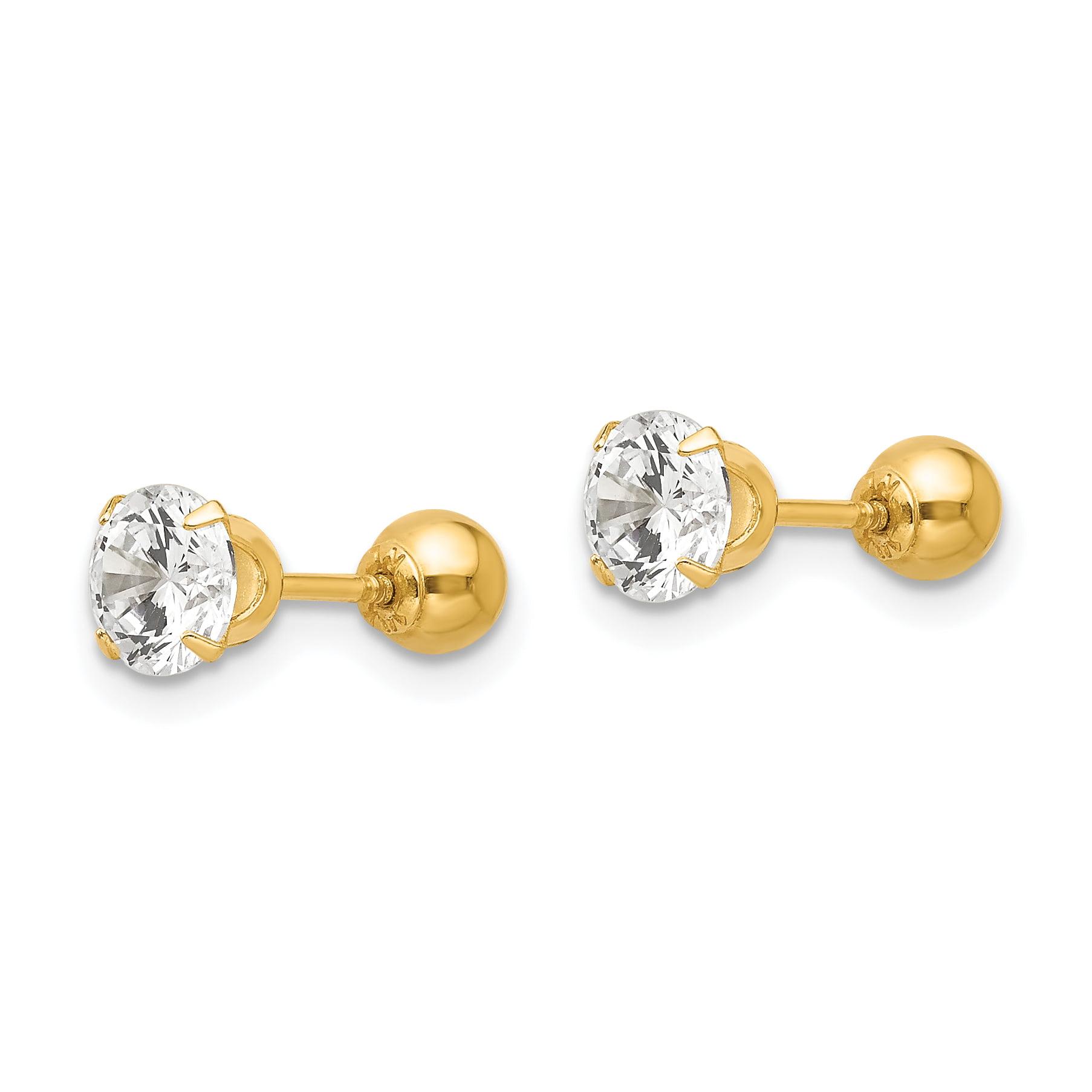 14k Madi K Polished 4mm Ball Screwback Earrings