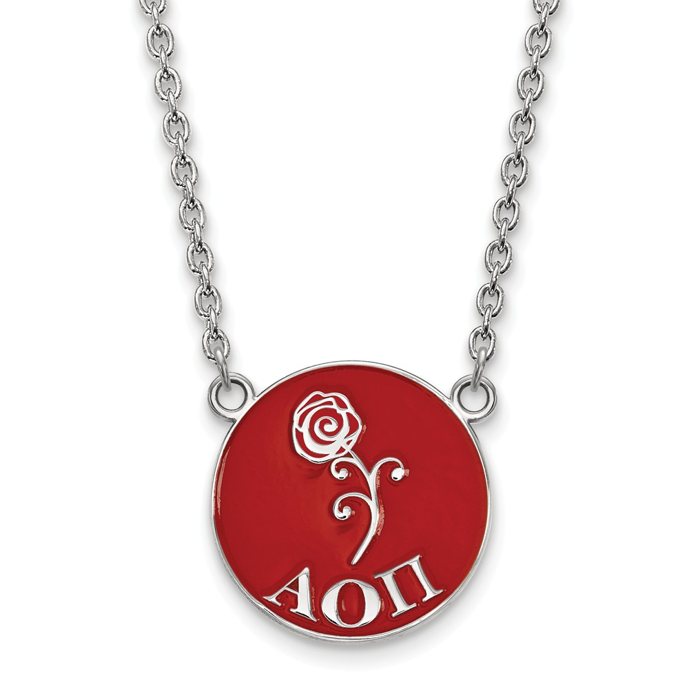 925 Rhodium Flashed Silver Red Enamel Alpha Omicron Pi Station Necklace
