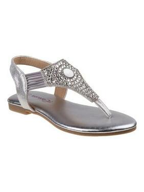 d4d96f4b6 Product Image Kensie Girls Silver Sparkle Elastic Strap Trendy Flip Flop  Sandals