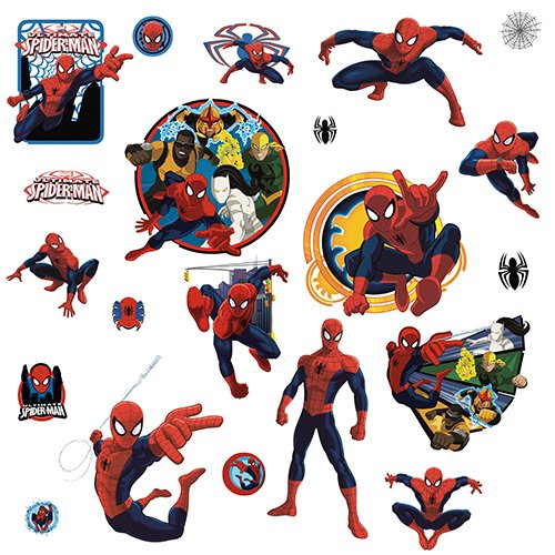 RMK3255SCS Spider-Man Ultimate and Team Hero Peel and Stick Wall Decals, Easy to apply - just peel and stick By RoomMates
