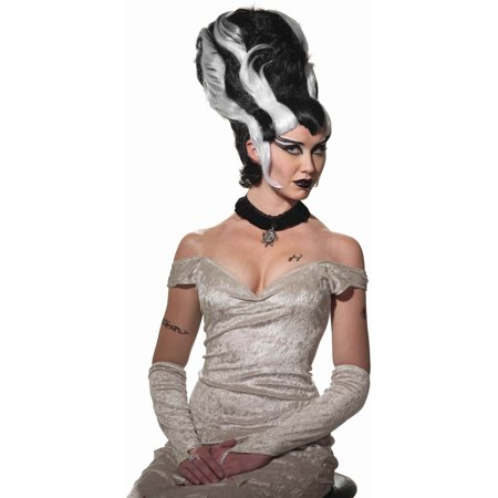 Woman's Mrs. Frankenstein Frankie Stein Black And White Costume Monster Wig (White Wig Costume)