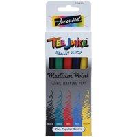 Jacquard Tee Juice Fabric Marker 5-Color Set, Medium Tips