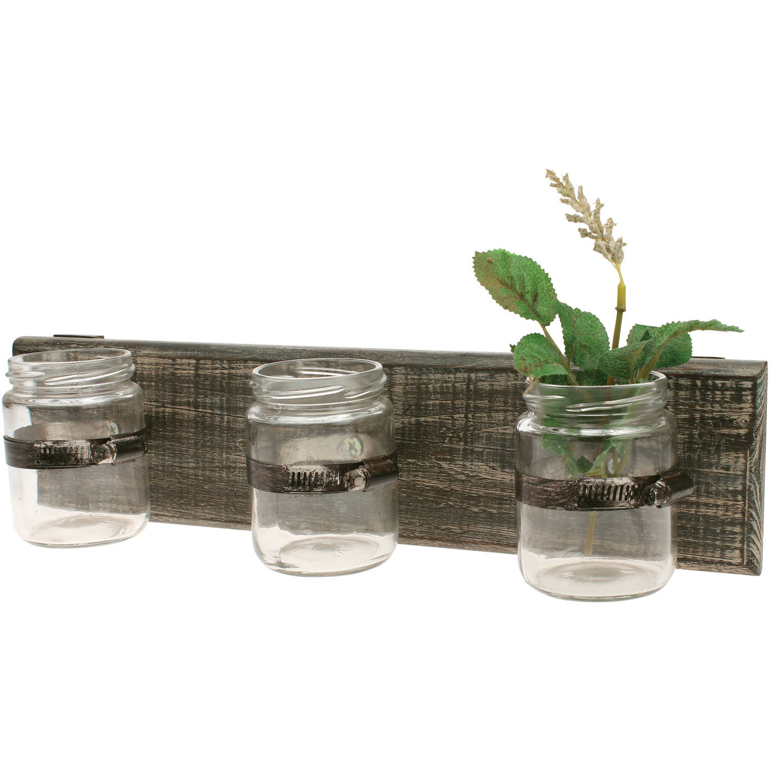 Worn Wood Wall Decor with 3 Glass Containers
