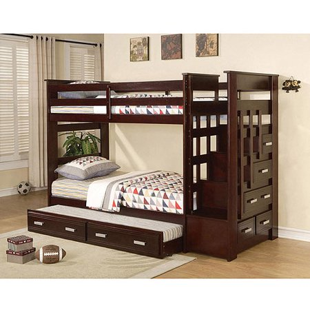 allentown twin over twin bunk bed espresso. Black Bedroom Furniture Sets. Home Design Ideas