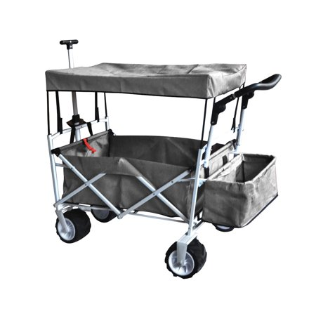 GRAY OUTDOOR FOLDING STROLLER WAGON CANOPY GARDEN TRAVEL CART ALL TERRAIN WHEEL