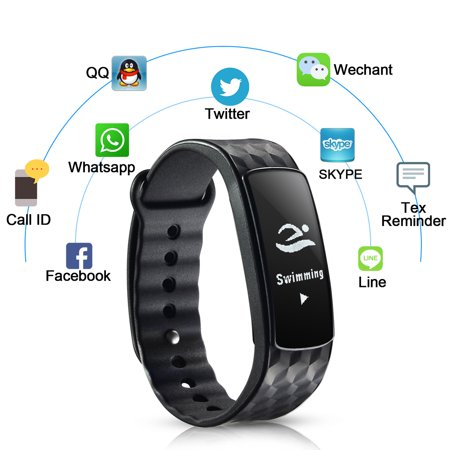IMAGE Waterproof Wireless Bluetooth Fitness Trackers Smart Bracelet Watch Wrist Band w/ Touch Screen for IOS Android Phone (Watches For Men Touch)