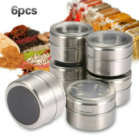 6-Pack Magnetic Spice Tins for Securing to Refrigerator Stainless Steel Multipurpose Jar Organizers