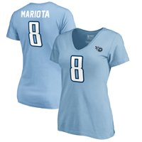 Marcus Mariota Tennessee Titans NFL Pro Line by Fanatics Branded Women's Authentic Stack Name & Number V-Neck T-Shirt -