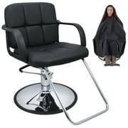 Bellavie Cutting Hair Cape w/ Hydraulic Barber Chair Salon Beauty Spa Styling Black Seat