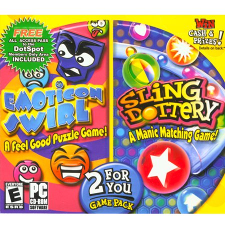 Sparkle Game (Emoticon Swirl & Sling Dottery - 2 For You Game Pack- XSDP -15015 - Enjoy two action-packed puzzle games in this game pack collection.  Emotion Swirl is a feel)