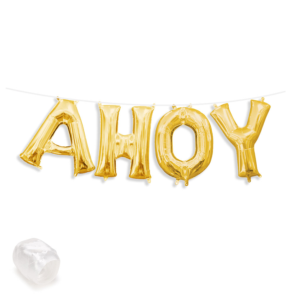 "Air-Fillable 13"" Gold Letter Balloon Kit ""AHOY"" Party Supplies"