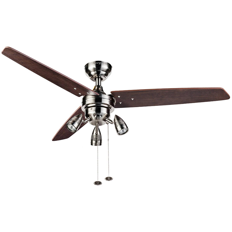"""48"""" Honeywell Wicker Park Ceiling Fan Satin Nickel"""