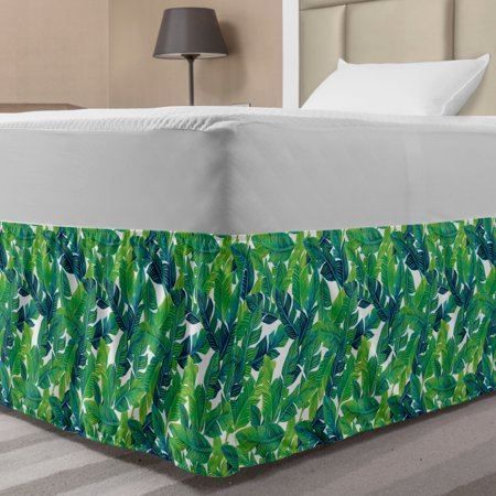 Banana Leaf Bed Skirt, Green Leaves of a Tropical Tree Brazilian Jungle Island Vegetation Art, Elastic Bedskirt Dust Ruffle Wrap Around for Bedding Decor, 4 Sizes, Green White, by Ambesonne