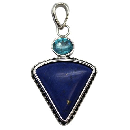 Deep Blue Faux Curved Edge Triangle Stone Pendant With Dotted Setting
