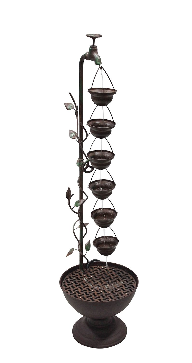 38 Inch 6 Hanging Cup Tier Layered Floor Fountain by Benzara