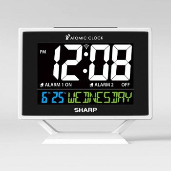 Sharp Atomic Digital Alarm Clock with Calendar Silver