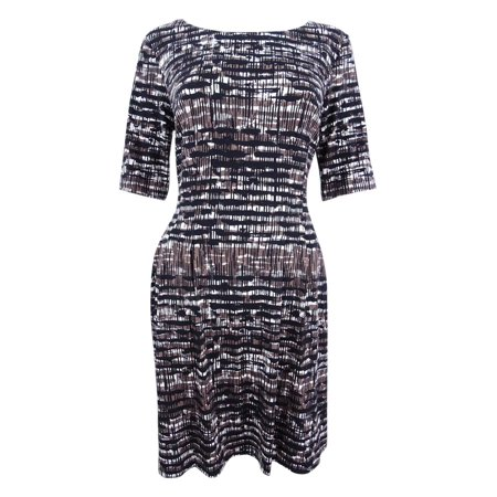 Connected Women's Petite Printed Elbow-Sleeve Dress
