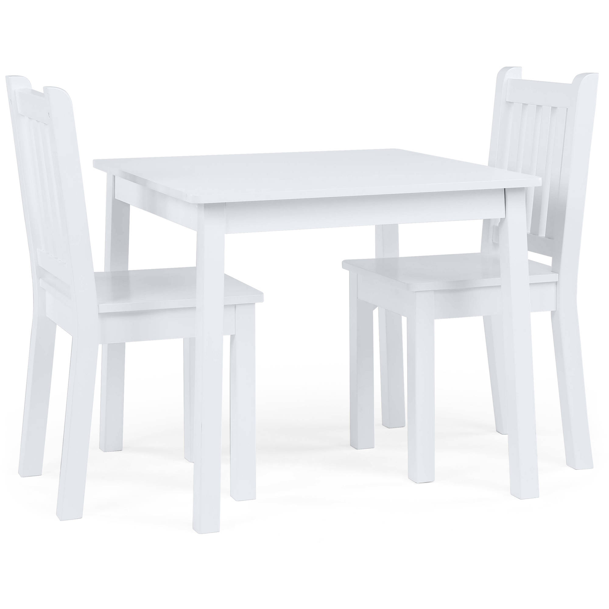 Tot Tutors Kids Wood Table And 2 Chairs Set, White (Daylight)