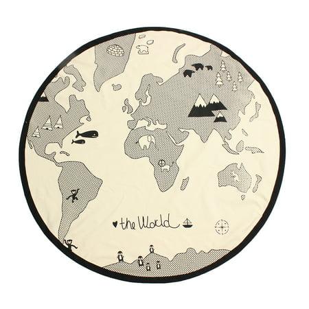 Meigar world map kids rug foldable black and white round diameter 53 meigar world map kids rug foldable black and white round diameter 53 inches rug indoor bedroom gumiabroncs Images