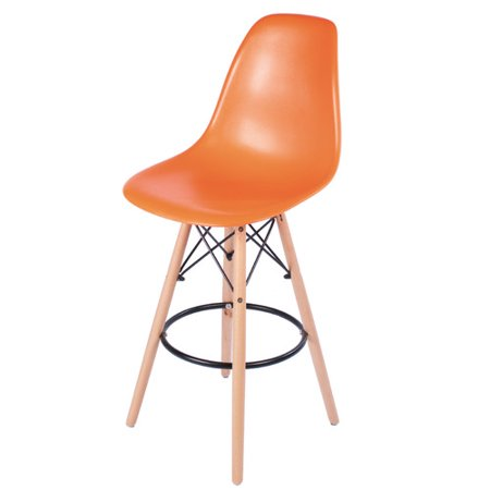 - Eames Style Counter Stool with Tall Wooden Base