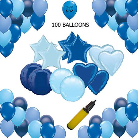 Blue Party Supplies and Light Blue Latex and Mylar Balloons Birthday Party, Wedding, Baby Shower Decorations and Events - Blue Birthday Decorations