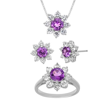 5 7/8 ct Natural Amethyst & Created White Sapphire Set in Sterling