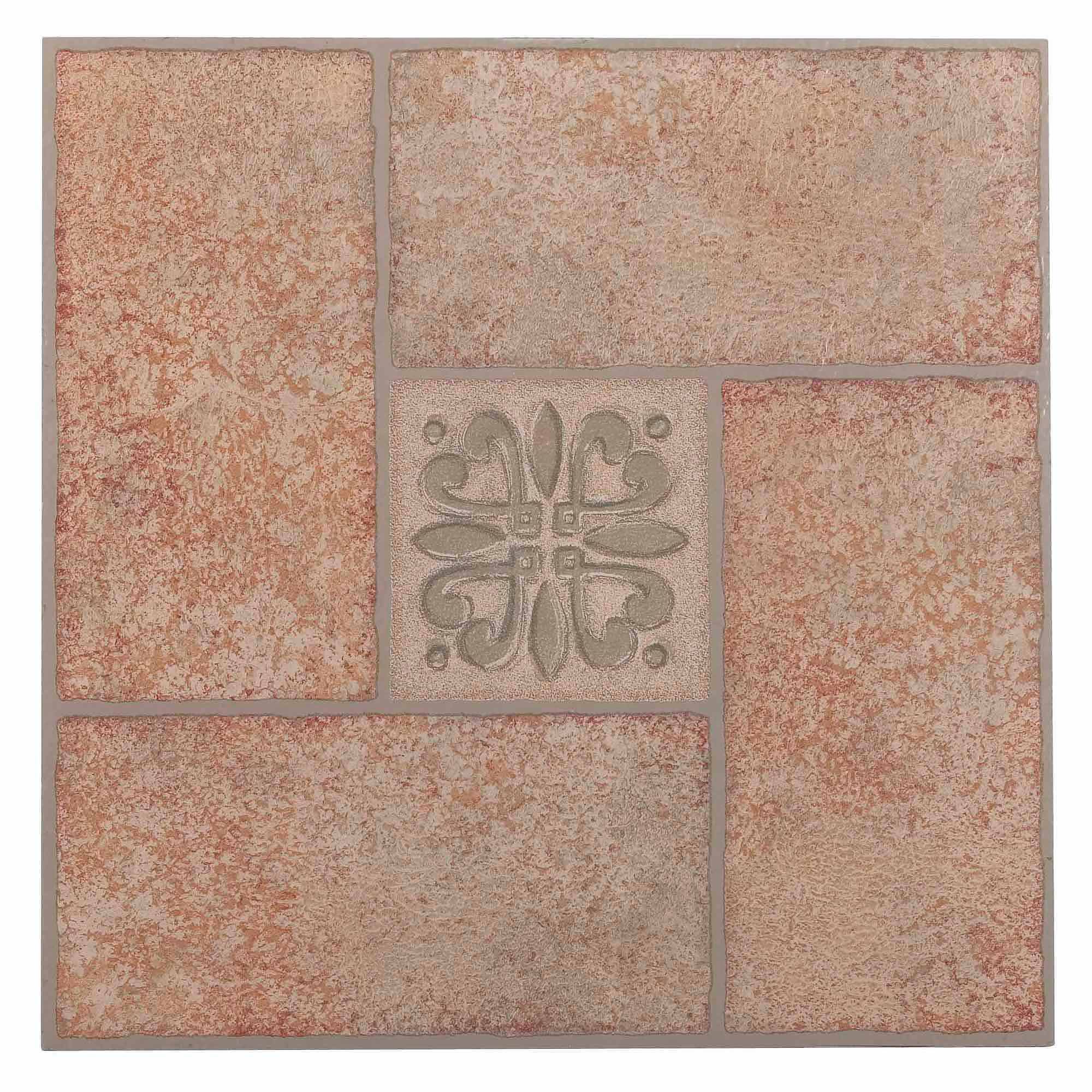 NEXUS Beige Terracotta Motif Center 12x12 Self Adhesive Vinyl Floor Tile    20 Tiles/20
