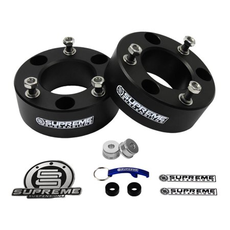 "Supreme Suspensions - Silverado Lift Kit 2.5"" Front Suspension Lift CNC Machined T6 Aircraft Billet Strut Spacers (Black) GMC Sierra Chevy Silverado 1500 Leveling Kit"