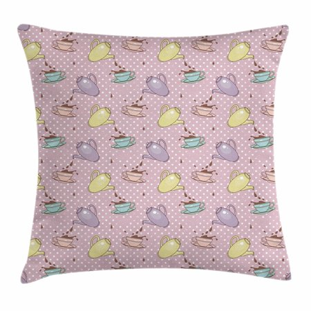 Tea Party Throw Pillow Cushion Cover, Polka Dots Background with Teapots Teacups Retro Cartoon Style, Decorative Square Accent Pillow Case, 18 X 18 Inches, Lilac Turquoise Pale Green, by Ambesonne