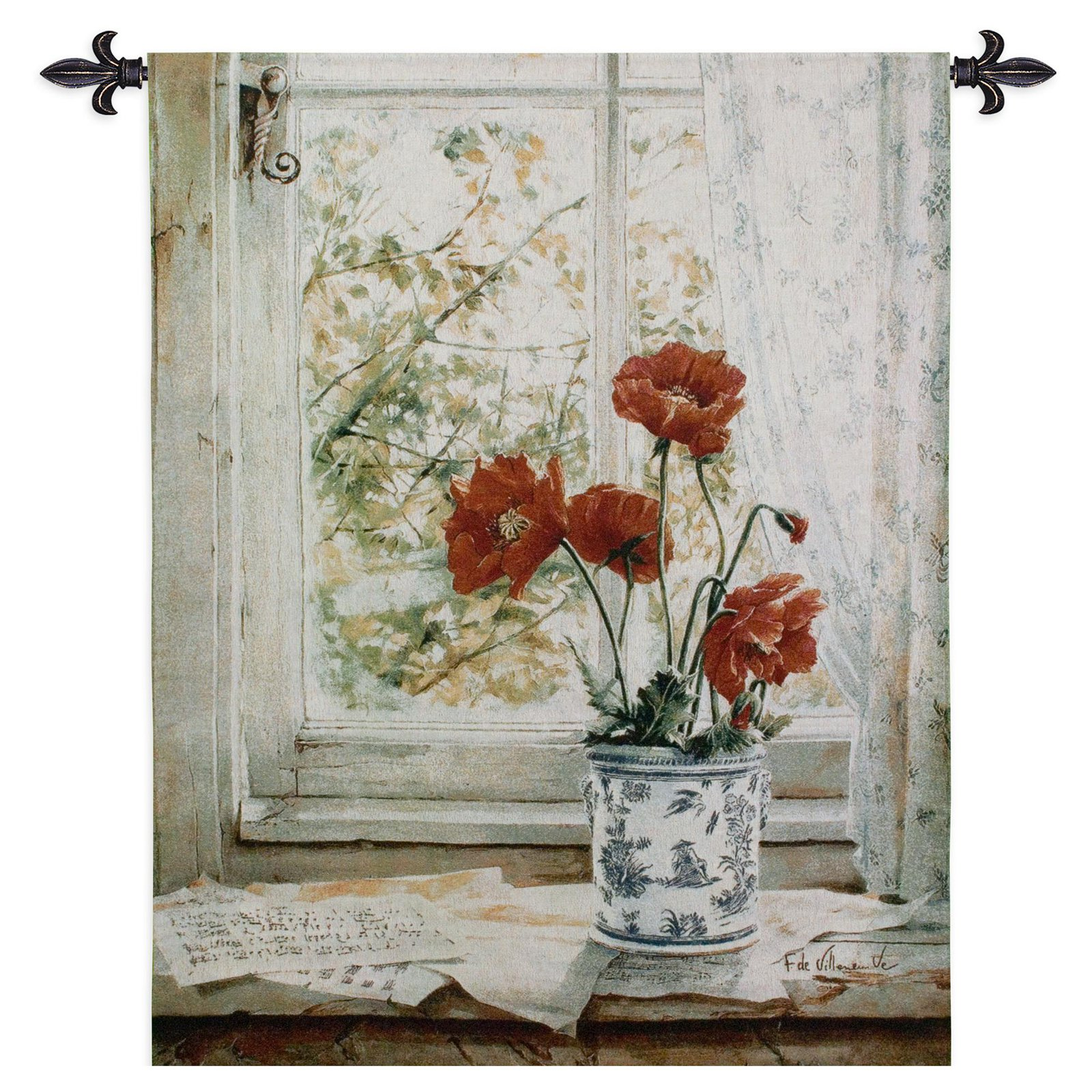 FineArtTapestries 3207-WH Les Pavots Wall Tapestry by Supplier Generic